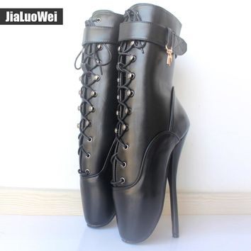 "7"" Spike High Heel BALLET Black lace up Mid-calf Boots  Fetish ballet boots plus size more colors"