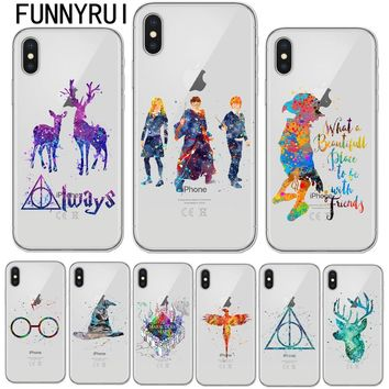 Avada Kedavra Harry Potter Bitch Deer Watercolor Art Soft Clear TPU Phone Case For Apple iPhone X 8 7 6 6S Plus 5S SE Cover Skin