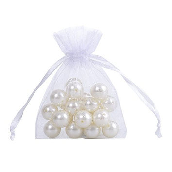 Ling's moment 3x4 Inch Sheer Organza Gift Candy Bags (100, White)
