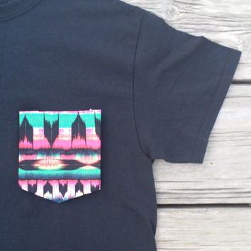Baja Aztec Tribal Black Pocket Tee