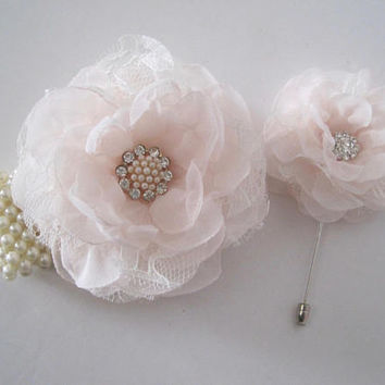 Gorgeous Blush Pink Chiffon with Lace Wrist Corsage Boutonniere Set with Pearl and Rhinestone Accents Prom Homecoming Winter Formal Wedding