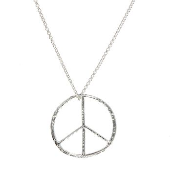 Bloody Mary Sterling Silver Oversize Peace Pendant Necklace