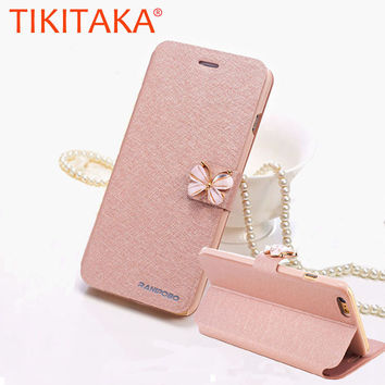 Luxury Leather Wallet Card Magnetic Flip Bling Diamond Butterfly bow knot Case For iPhone 5S SE 6 6S Plus Cases W/ Stand Holder