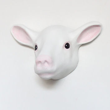 Counting sheeps - Dream cacher. Paper mache wall mount head sculpture of white Sheep, animal wall decoration