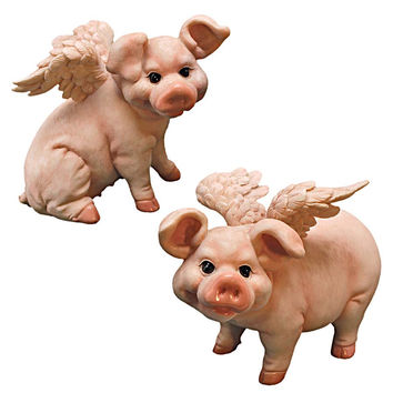 Park Avenue Collection S/2 Flying Pig Statues