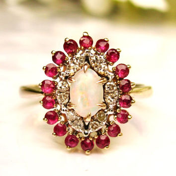 Vintage Opal & Spinel Alternative Engagement Ring 14K Gold Diamond Wedding Ring Bridal Jewelry Size 7