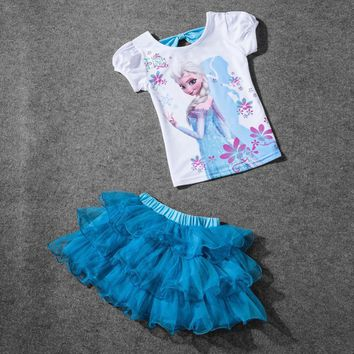 Hot Sale 2017 New Girls Princess Elsa Dress + T shirt 2 Pcs Set 3-8Age Sky Blue Layered Tutu Dress Sets Vestidos