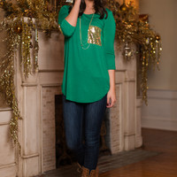 Sold On Sequins Top, Green