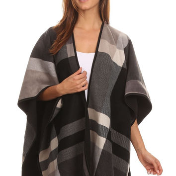 Reversible Plaid/Solid Winter Fleece Blanket Poncho With Trim