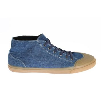 Dolce & Gabbana Blue Denim Ankle Sneakers Laceup Shoes