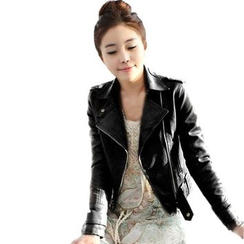 Meilaier Womens Fashion Faux Leather Zip up Moto Jacket Coat Black