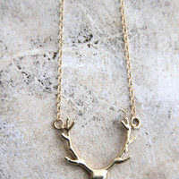16k Gold Plated Deer Antler Pendant Necklace - 20 inch chain