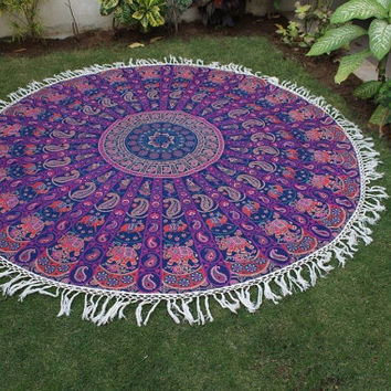 Purple Indian Mandala Tapestry Beach Throw