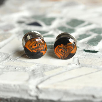 "1/2 Double Flare Plugs, Halloween Plugs, Halloween Gauges, Orange and Black Plugs, Polymer Clay Plugs, Gauged Earrings - size 1/2"" (12mm)"