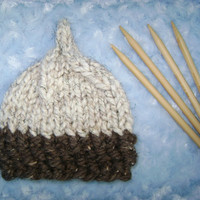 Knit Pixie Acorn baby hat - Baby boy hat - Baby girl hat - Gnome Infant beanie