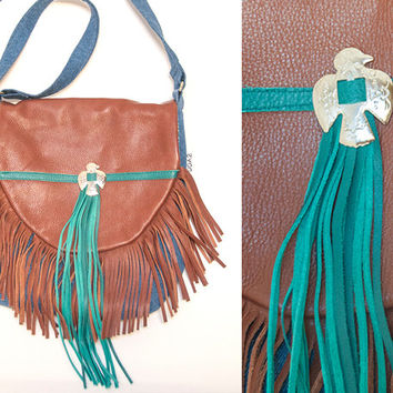 Desert Pheonix Turquoise and Brown Leather Fringe Purse w/ Concho | Handmade Crossbody Genuine Leather Fringe Bag | Boho Denim Purse HandBag