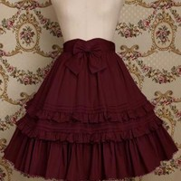 Burgundy Cotton Knee-length Sweet Lolita Skirt With Ruffles Hemline