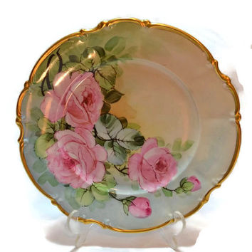 """Bavaria Plate  w/ Hand Painted Pink Roses - Germany Hutschenreuther - 24K Gold Trim - Osborne China 10"""""""