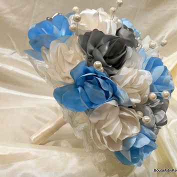 Wedding Bouquet Handmade Satin Wild Roses in Ivory, Baby Blue and Silver