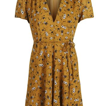 **V-Neck Printed Wrap Dress by Glamorous Petites