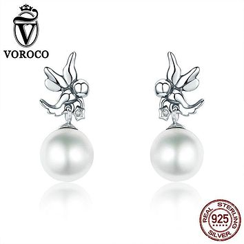 VOROCO Classic Genuine 925 Sterling Silver Love Angel Clear CZ Pearl Stud Earrings for Women Fine Jewelry Bijoux VSE021