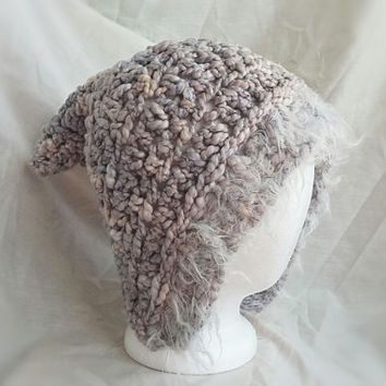 Crochet pixie hat Blue grey white fuzzy trim hand dyed pima cotton crochet chunky pixie sprit pointy elf hat hood