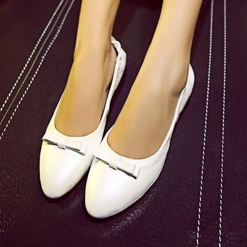 Women Flats Bow Loafers Foldable Ballet Shoes f433f88803