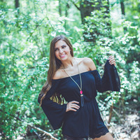 Walk The Line Romper in Black