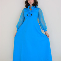 ON SALE Vintage Vibrant Blue Long Sleeve Maxi Dress With Blue Rose Flower Detail
