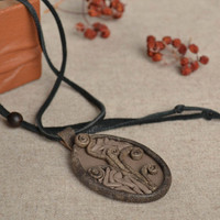 Designer pendant made of genuine leather handmade necklace accessories for girls