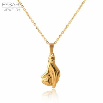 FYSARA Heart Helping Hand Pendant & Necklace Women Rose Gold Color Short Necklace Love Small Choker Stainless Steel Jewelry