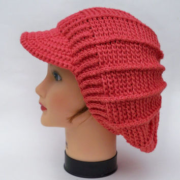 Crochet Newsboy Cap - Women's Slouchy Hat With Brim - Brimmed Beanie - Pink Headwear - Slouchy Visor Tam - Crochet Accessories