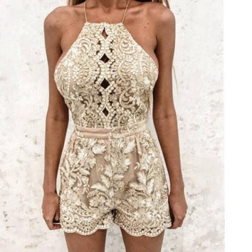 2017 embroidery lace corset Jumpsuit shorts sexy backless hollow