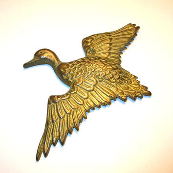 Brass Duck Wall Hanging - Vintage Duck - Cast Brass - Goose Wall Hanging - Hunting Cabin Decor