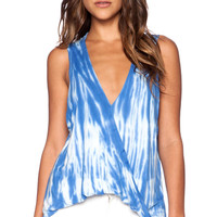 Sleeveless Hi Low Hayley Tank in Shave Ice Tie Dye