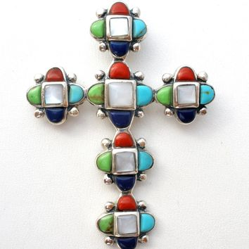 Sterling Silver Turquoise Coral Mop Lapis Cross Pendant
