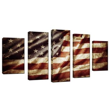 Vintage Retro American Flag Canvas Painting USA Flag Stars And Stripes Poster Honored Nation Symbol Picture Wall Decor Artwork