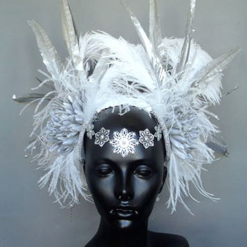 MADE TO ORDER  Silver Faux Feather Headdress with Ostrich Plumes