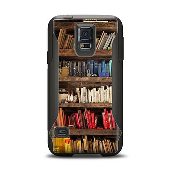 The Vintage Bookcase V1 Samsung Galaxy S5 Otterbox Commuter Case Skin Set