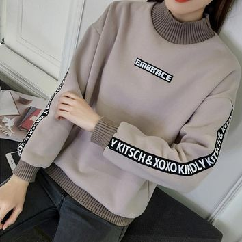 Loose and cashmere sweater female thickening