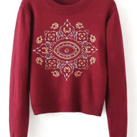 Burgundy Embroidery Detail Sweater