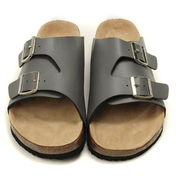 Birkenstock Leather Cork Flats Shoes Women Men Casual Sandals Shoes Soft Footbed Slippers-205