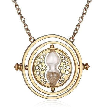 Spinning Time Turner Hour Glass necklace inspired by Harry Potter
