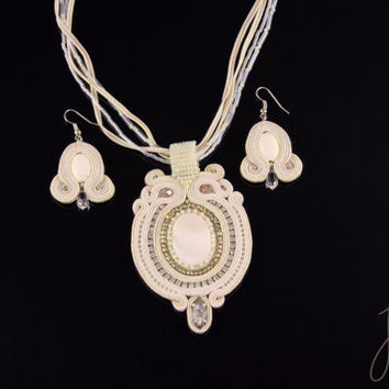 Bridal, unique soutache necklace, handcrafted cream jewelry, crystals, zircons