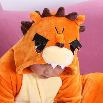 ONETOW Lion Children Kids Unisex Pajamas  Halloween Christmas Costume Animal Onesuit Sleepwear For Boys Girls