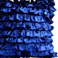 Decorative Throw Pillow Covers in Navy Blue Satin - Ruffle Pillow Covers - Decorative Pillow Covers - Ruffle Throw Cushion Covers - Navy Blue Pillow Covers- Couch Pillow Covers- Ruffle Textured Sateen Toss Pillow Covers