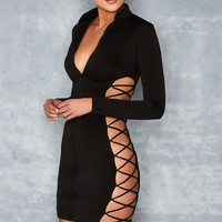 'Prestige' Black Neoprene Side Lace Dress - Mistress Rocks