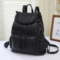 Soft Leather Black Backpack School Outdoor Sports Travel Bag