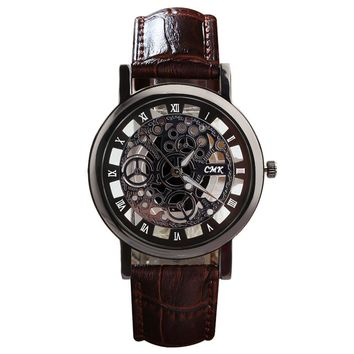 Fashion Cool Clock Luxury Business Skeleton Men Quartz Leather Watch Engraving Hollow Watches Women Dress Wristwatches Relogio