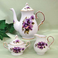 20 oz Teapot with Cream and Sugar Set USA Hand Decorated Porcelain